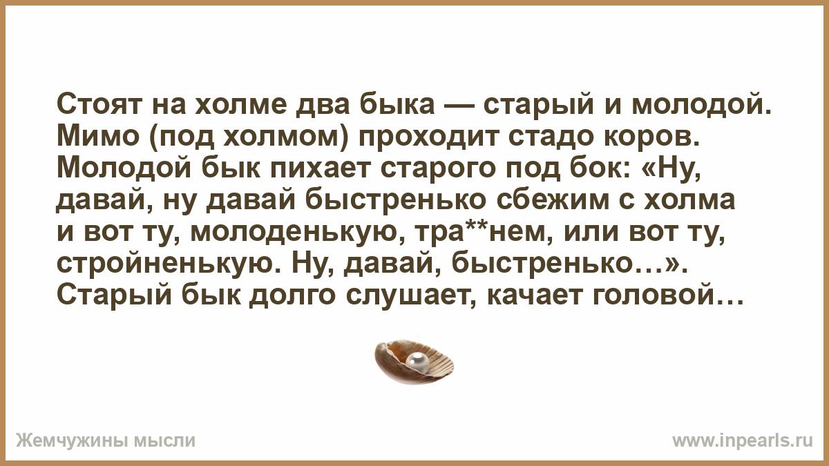 Анекдоте Про Молодого И Старого Быков